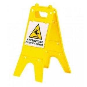 cartello cavalletto avviso pavimento bagnato